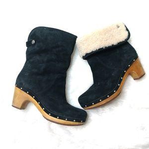 UGG Lynnea Black Suede Shearling Clog Boots